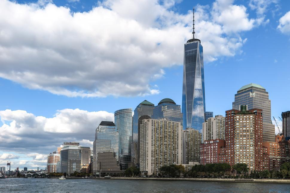 Download Free Stock Photo of Battery Park and One WTC