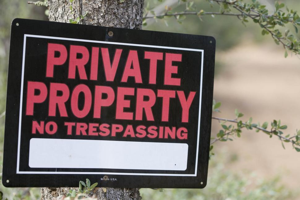 Download Free Stock HD Photo of Private Property sign on a tree Online