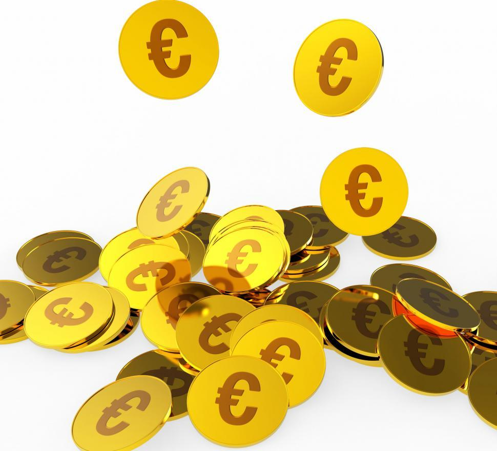 Download Free Stock Photo of Euro Coins Represents Prosperity Euros And Financing
