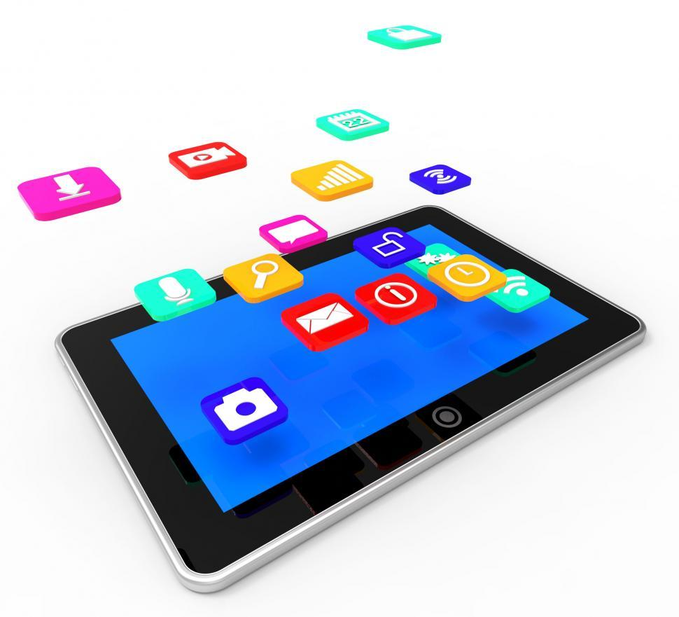 Download Free Stock Photo of Social Media Tablet Indicates Application Software And Communica