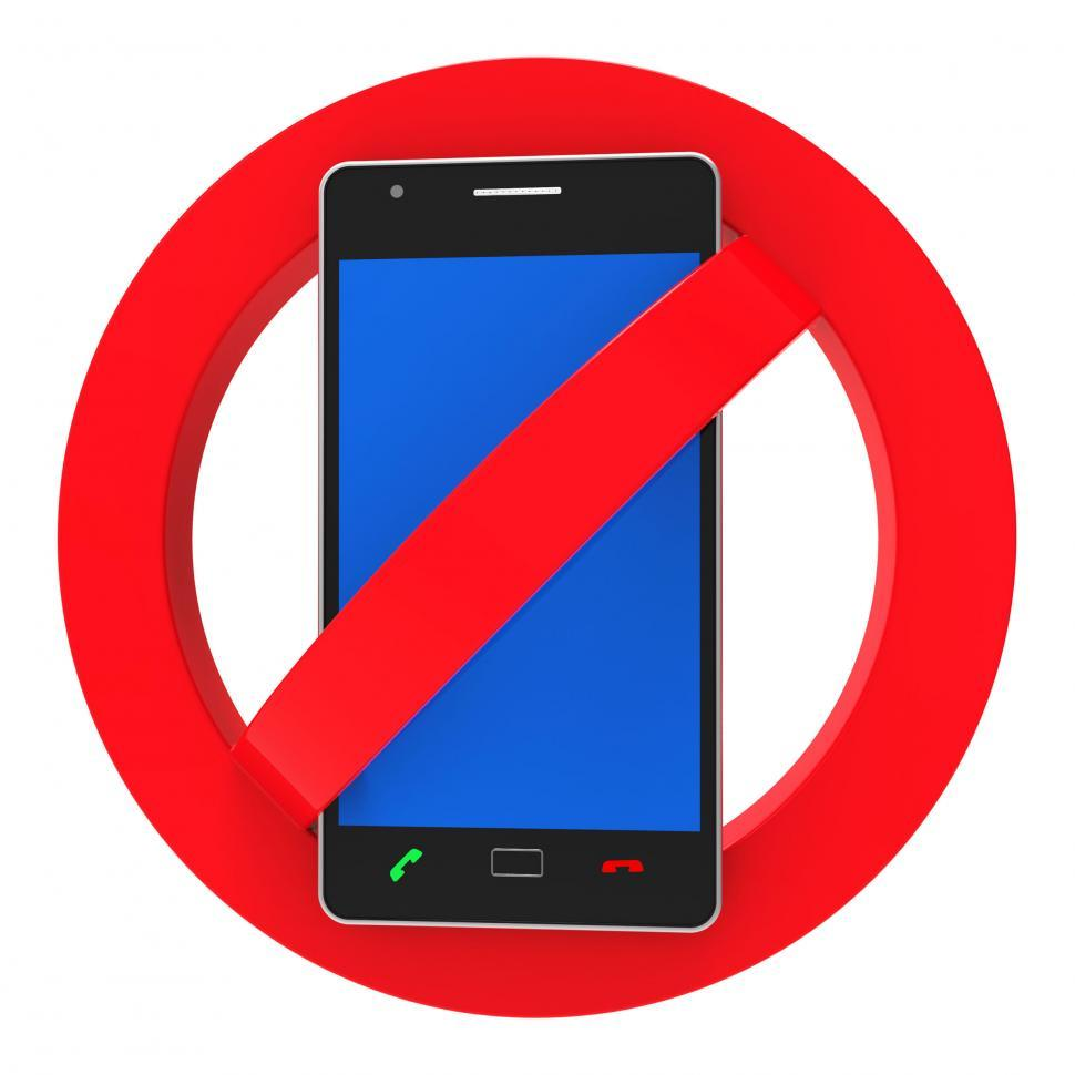 Download Free Stock Photo of Phones Banned Indicates Prohibit Caution And Safety