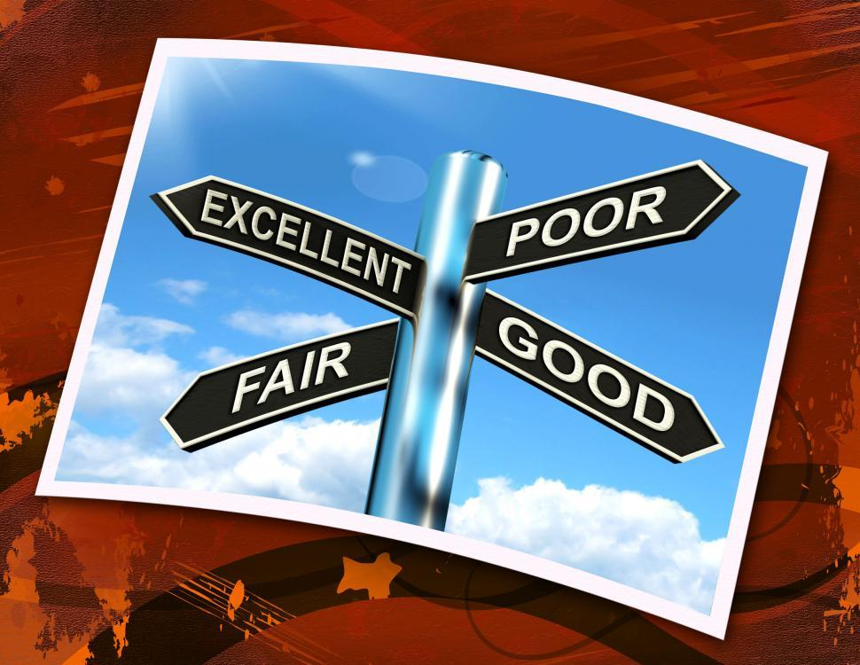 Download Free Stock Photo of Excellent Poor Fair Good Sign Means Performance Review