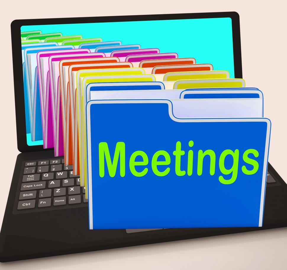 Download Free Stock HD Photo of Meetings Folders Laptop Means Talk Discussion Or Conference Online