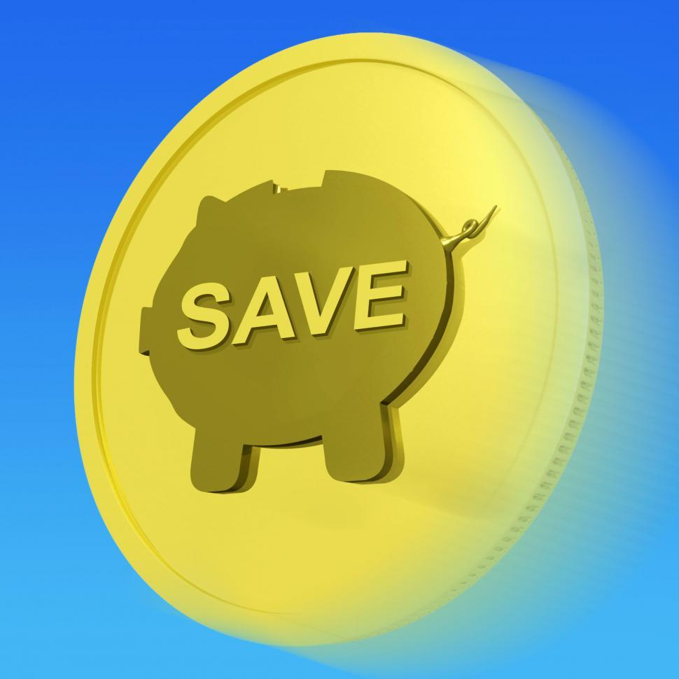 Download Free Stock Photo of Save Gold Coin Means Price Slashed And On Special