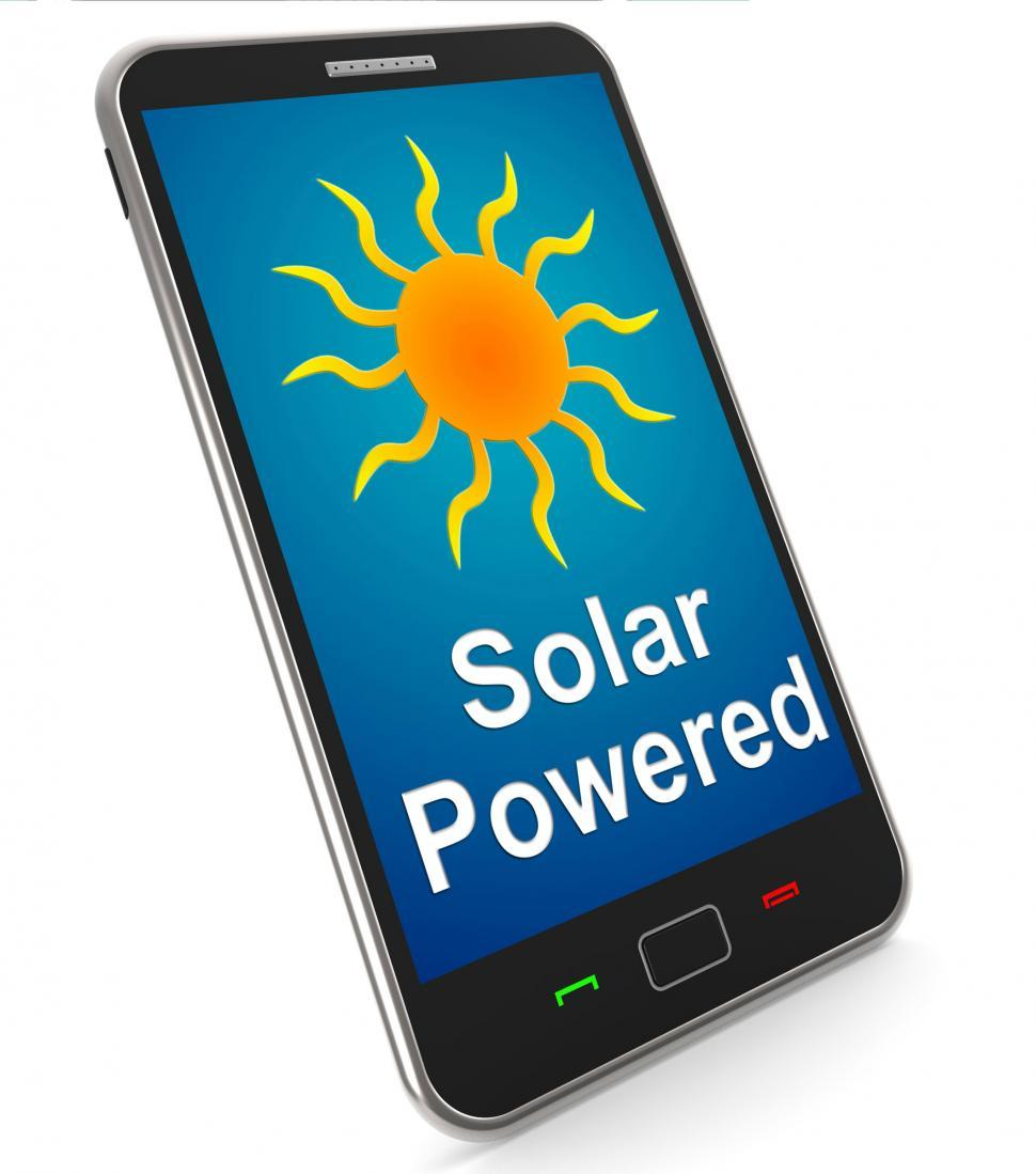 Download Free Stock Photo of Solar Powered On Mobile Shows Alternative Energy And Sunlight