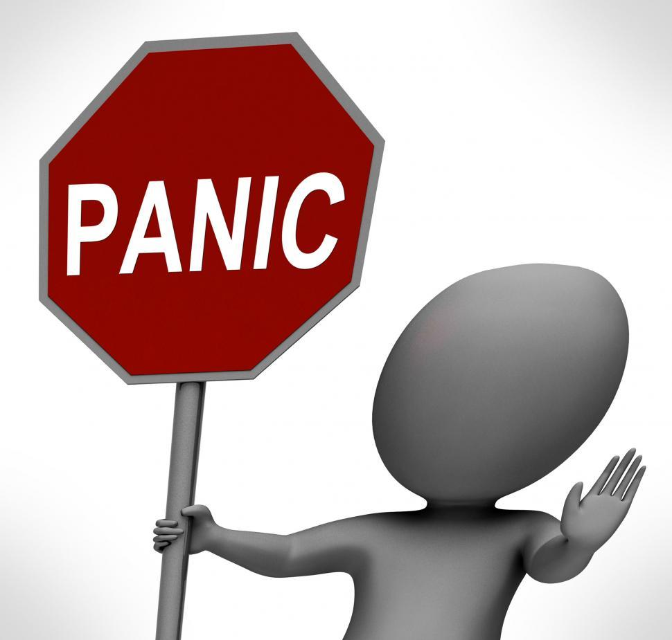 Download Free Stock Photo of Panic Red Stop Sign Shows Stopping Anxiety Panicking