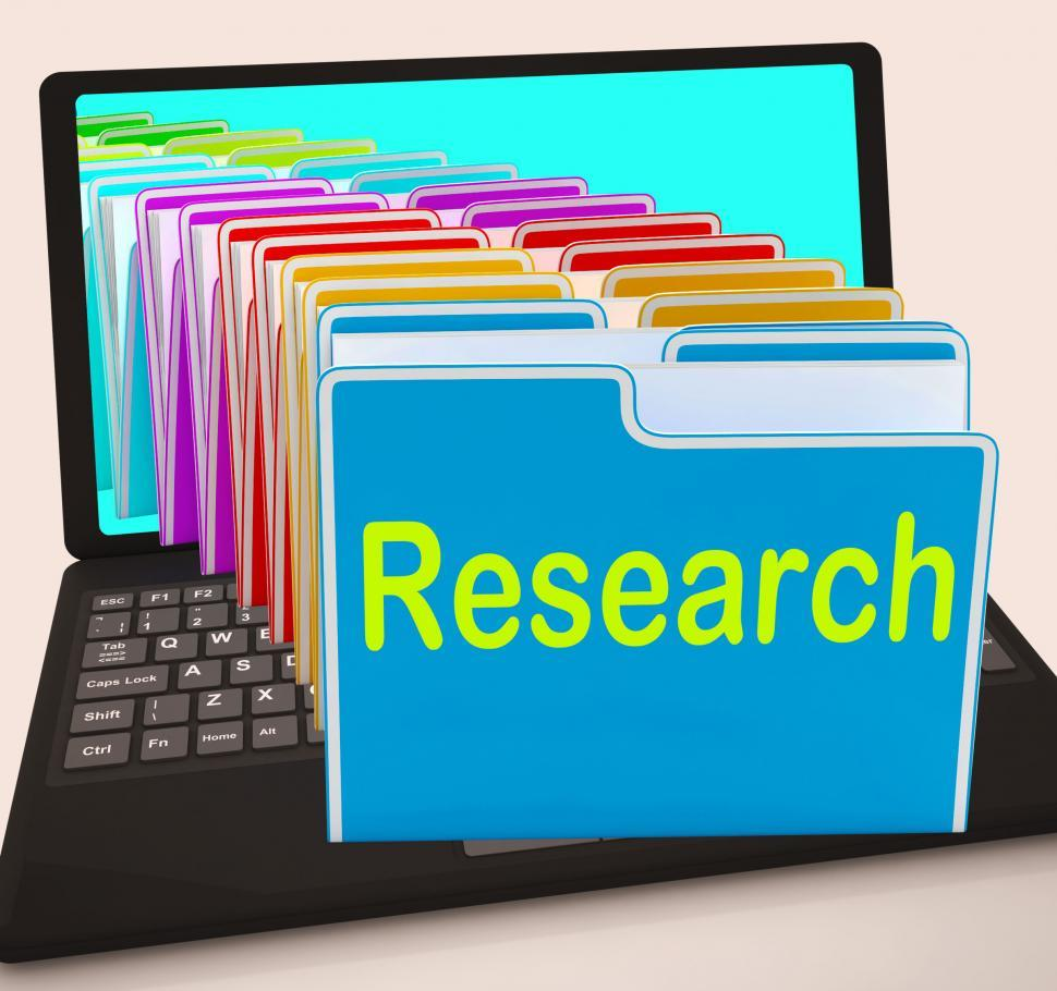 Download Free Stock HD Photo of Research Folders Laptop Mean Investigation Gathering Data And An Online