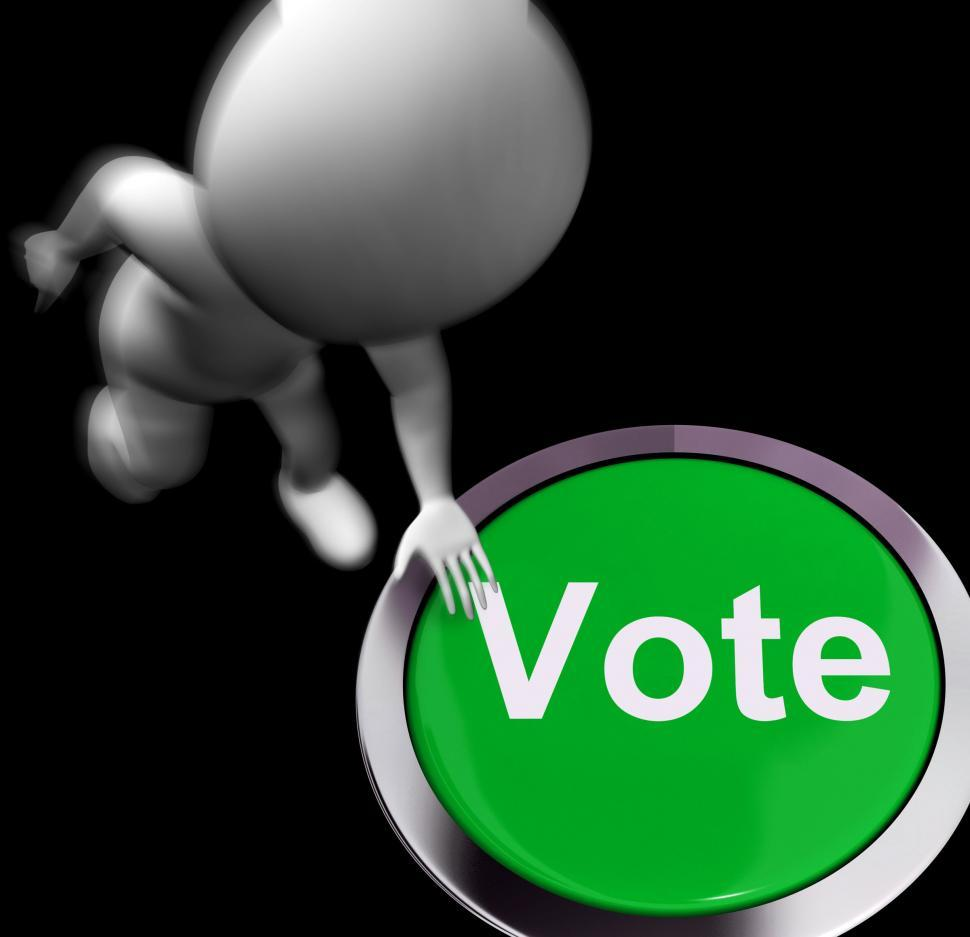 Download Free Stock Photo of Vote Pressed Shows Poll Election Or Choosing