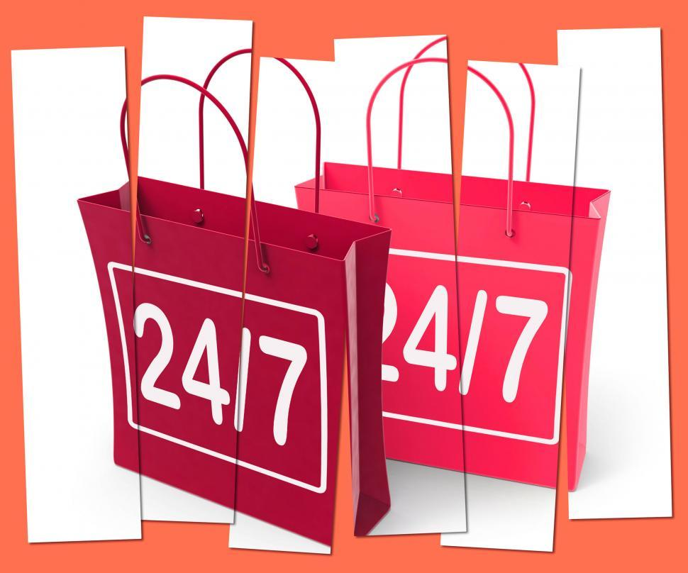 Download Free Stock Photo of Twenty four Seven Shopping Bags Show Hours Open