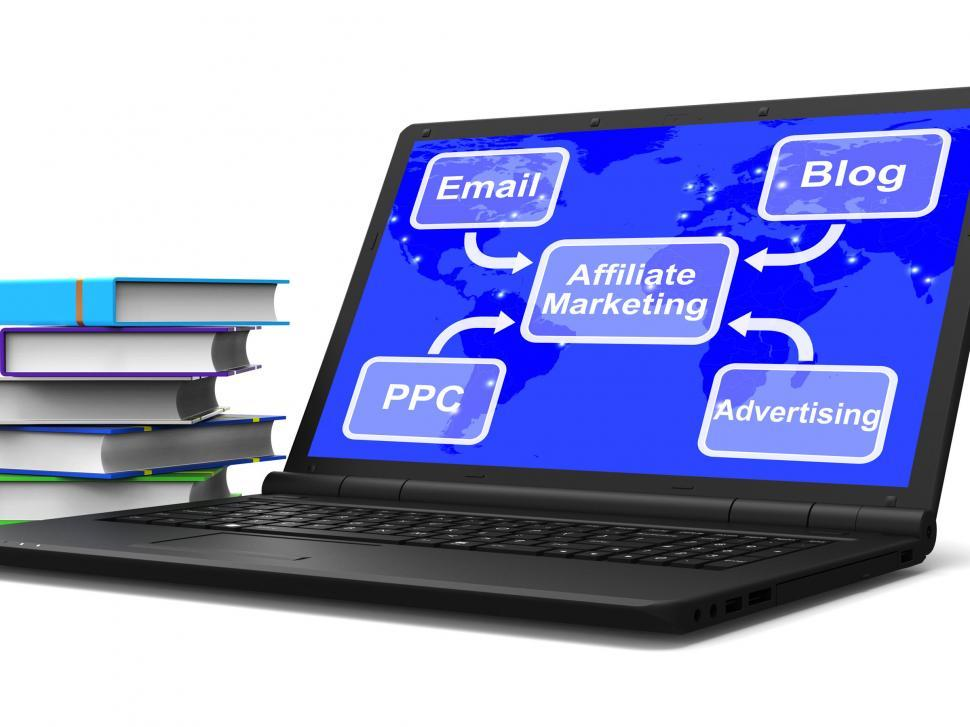 Download Free Stock Photo of Affiliate Marketing Laptop Map Shows Email Blog PPC And Advertis