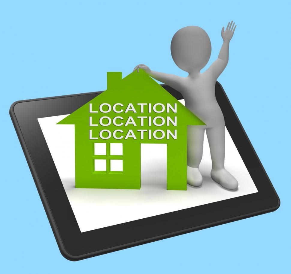 Download Free Stock Photo of Location Location Location House Tablet Shows Perfect Property A