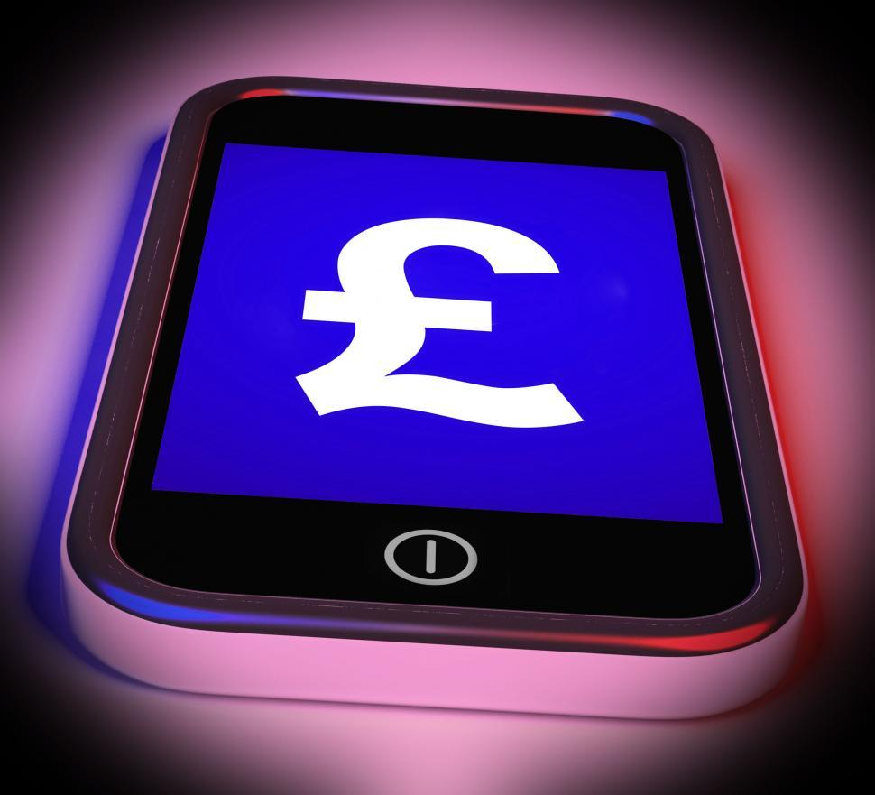 Download Free Stock Photo of Pound Sign On Mobile Shows British Money Gbp