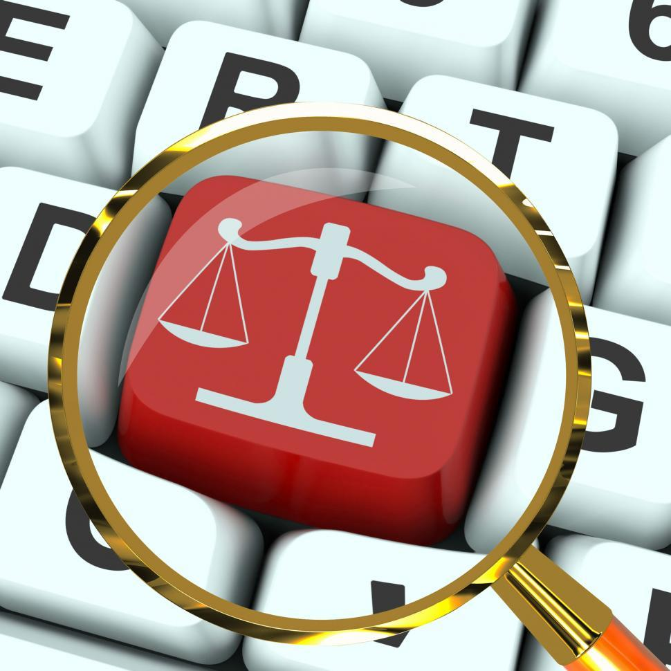 Download Free Stock Photo of Scales Of Justice Key Magnified Means Law Trial