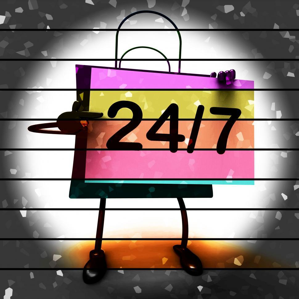 Download Free Stock Photo of Twenty four Seven Shopping Bag Shows Hours Open