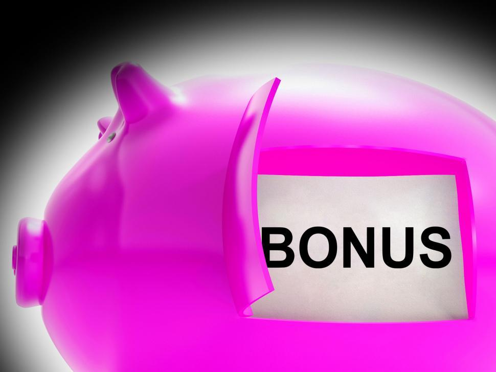 Download Free Stock HD Photo of Bonus Piggy Bank Coins Means Perk Or Benefit Online