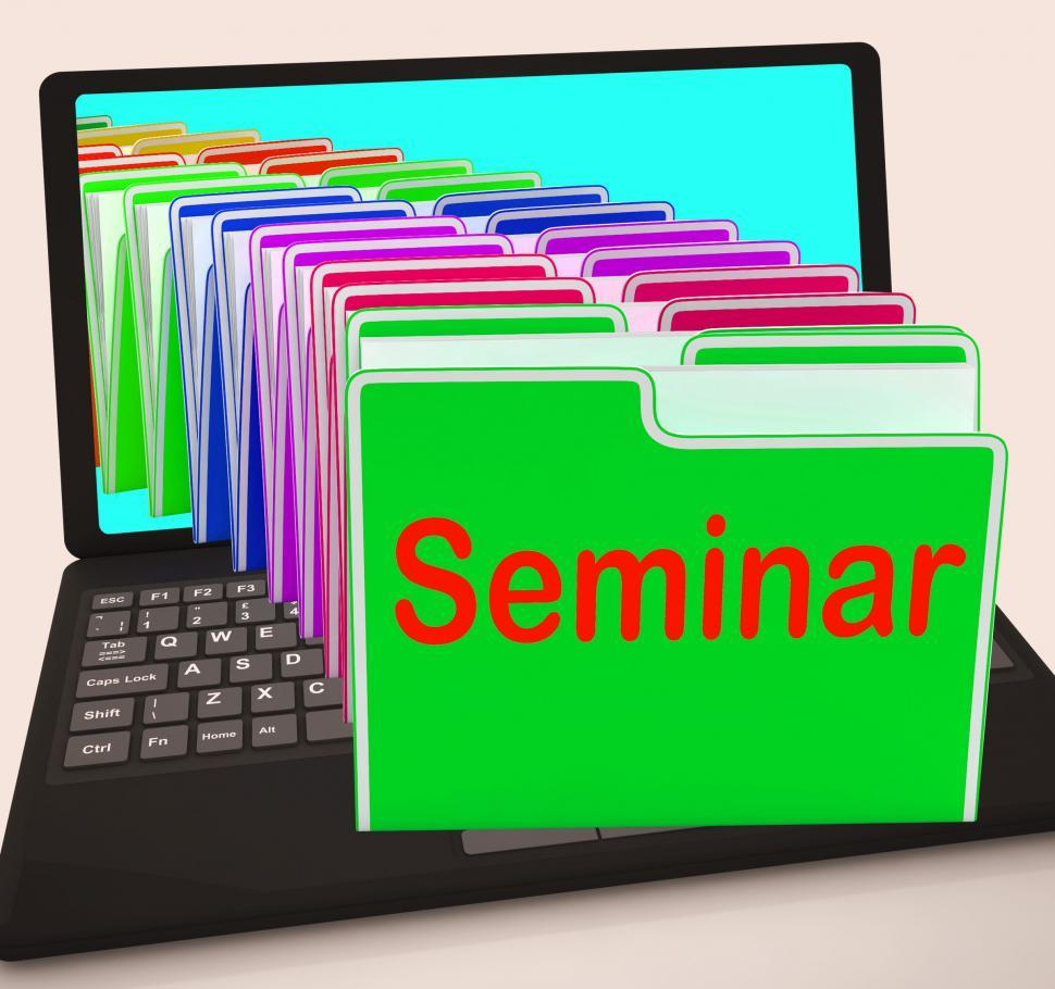 Download Free Stock Photo of Seminar Folders Laptop Show Convention Presentation Or Meeting