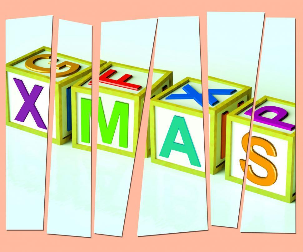 Download Free Stock Photo of Xmas Letters Show Merry Christmas And Festive Season