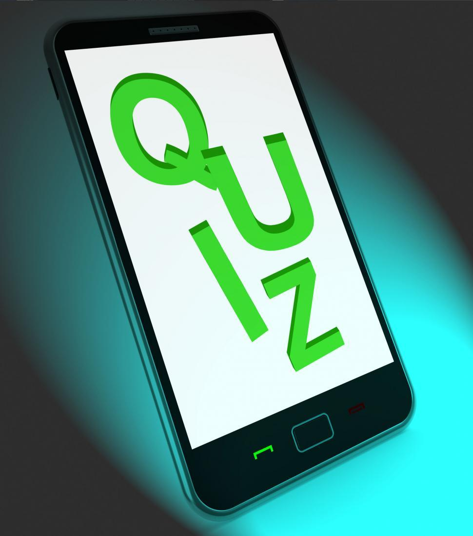 Download Free Stock Photo of Quiz On Mobile Means Test Quizzes Or Questions Online