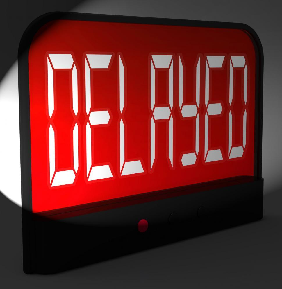 Download Free Stock Photo of Delayed Digital Clock Shows Postponed Or Running Late