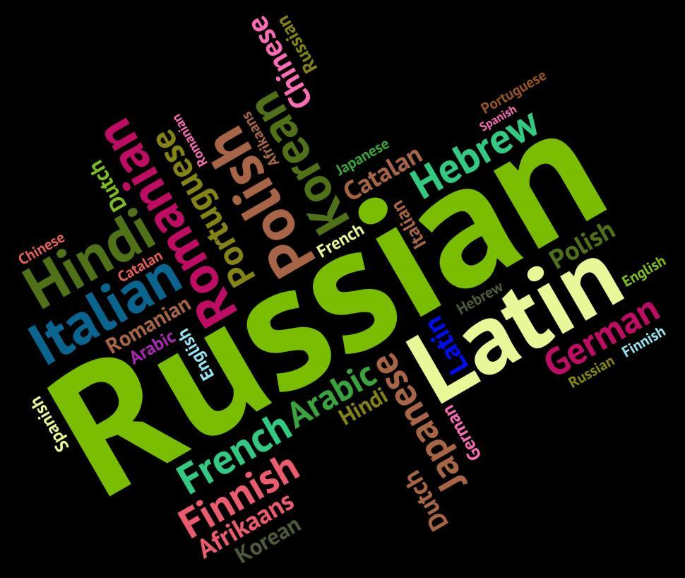 Download Free Stock Photo of Russian Language Means Foreign Wordcloud And Text