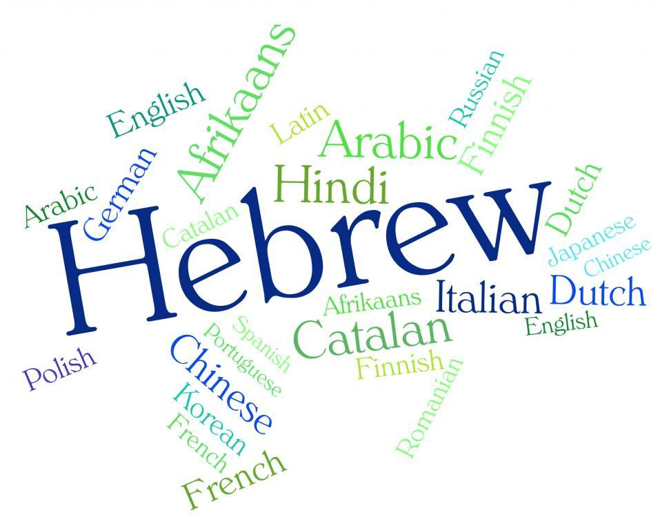 Download Free Stock HD Photo of Hebrew Language Shows Vocabulary Speech And Translate Online