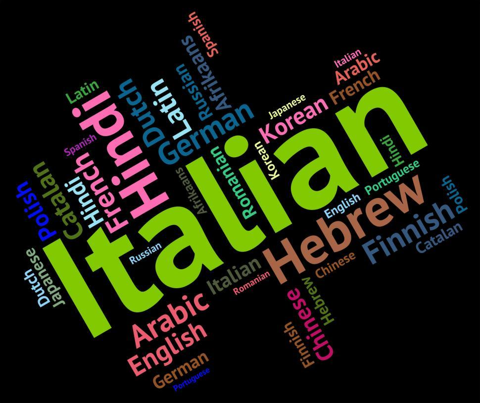 Download Free Stock Photo of Italian Language Shows Foreign Translate And Vocabulary