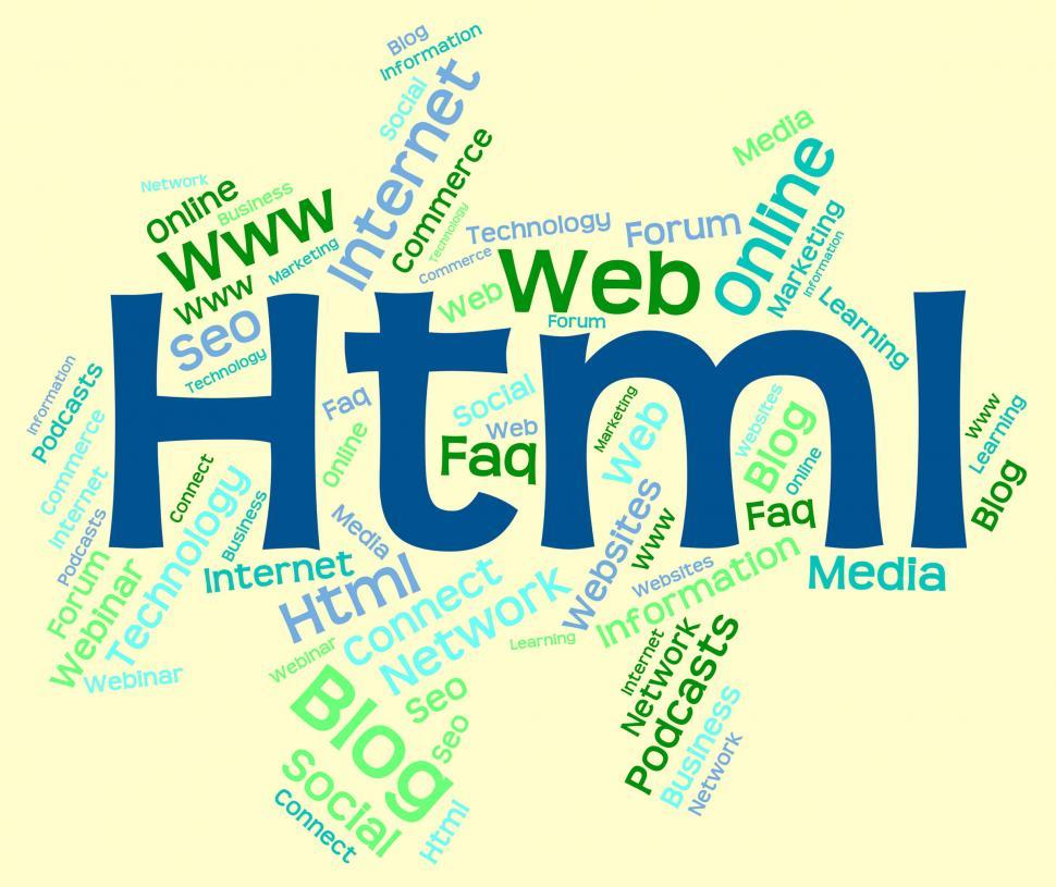Download Free Stock Photo of Html Word Indicates World Wide Web And Code