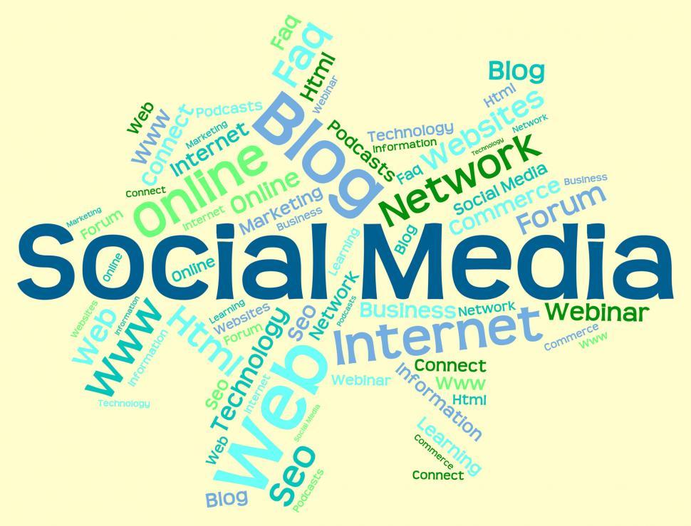 Download Free Stock Photo of Social Media Shows Wordcloud Word And Internet