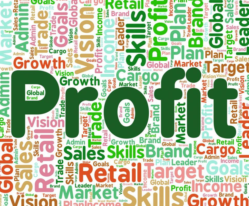 Download Free Stock Photo of Profit Word Means Earns Profits And Wordcloud