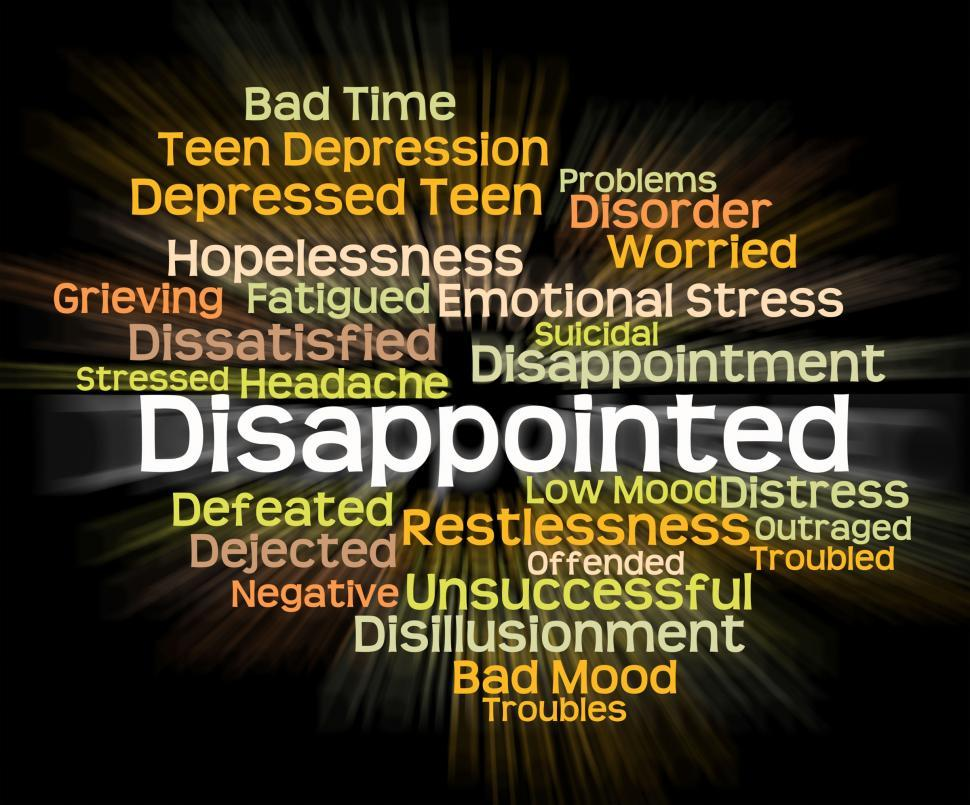 Download Free Stock HD Photo of Disappointed Word Represents Let Down And Chagrined Online