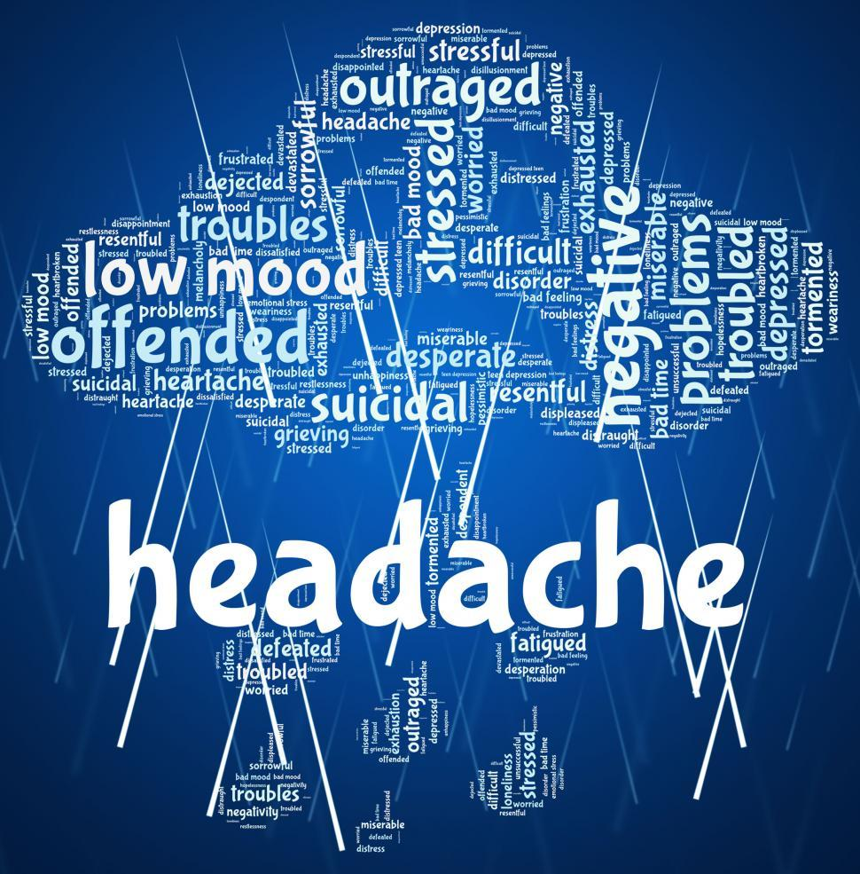 Download Free Stock Photo of Headache Word Represents Cephalalgia Headaches And Wordcloud