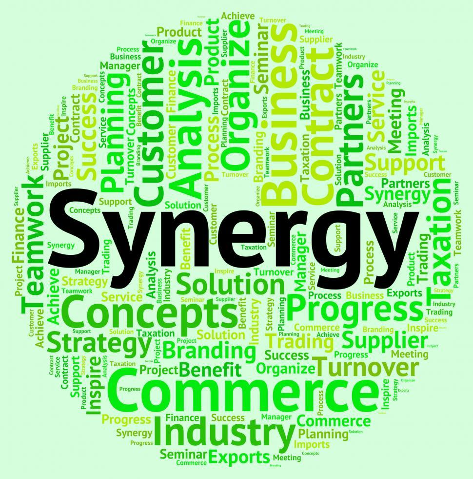 Download Free Stock Photo of Synergy Word Indicates Working Together And Cooperation
