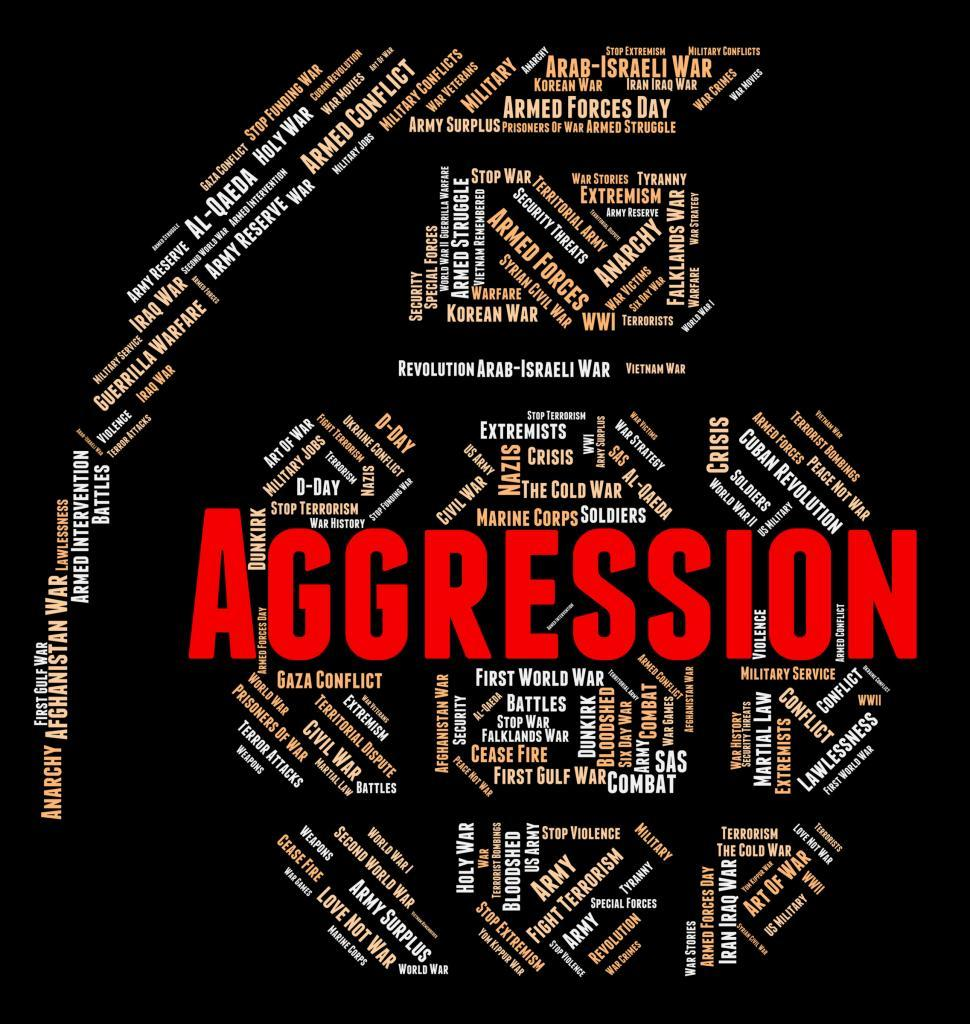 Download Free Stock HD Photo of Aggression Word Indicates Assault Wordcloud And Warmongering Online