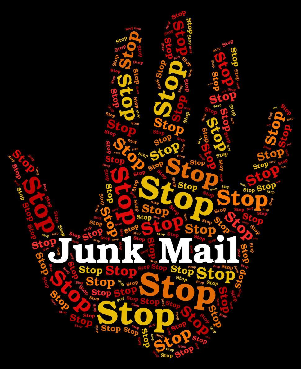 Download Free Stock Photo of Stop Junk Mail Means Warning Sign And Danger
