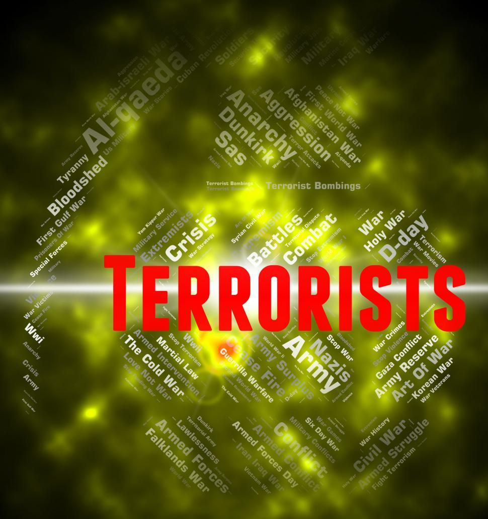 Download Free Stock Photo of Terrorists Word Indicates Urban Guerrilla And Anarchist