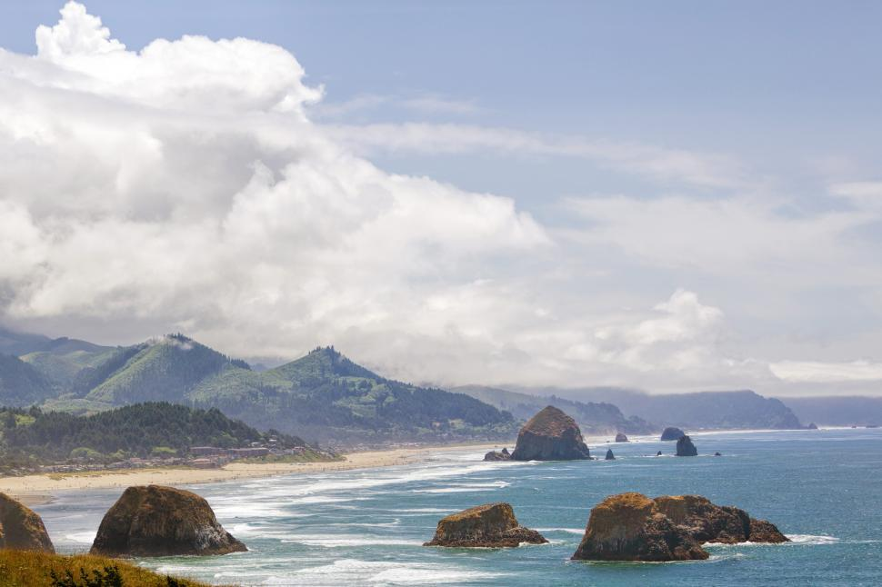 Download Free Stock HD Photo of Haystack Rock View Online