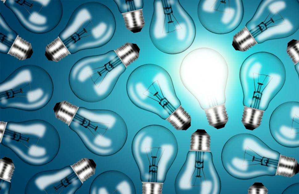 Download Free Stock HD Photo of Many Lightbulbs on Blue Background - Ideas and Creativity Concept Online
