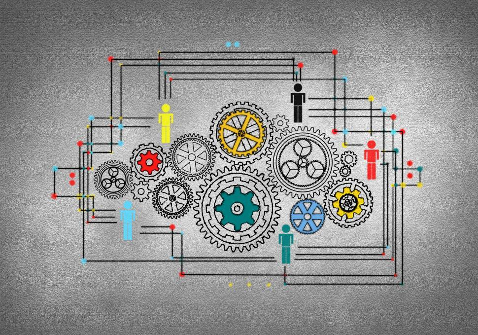 Download Free Stock Photo of People Working Within an Organization - Concept with Cogwheels