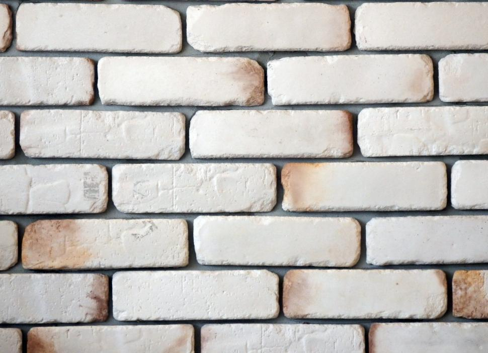 Download Free Stock Photo of White Brick Wall Background