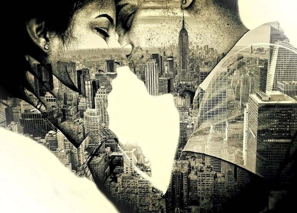 Download Free Stock Photo of Couple in love Kissing over New York - Double Exposure Effect