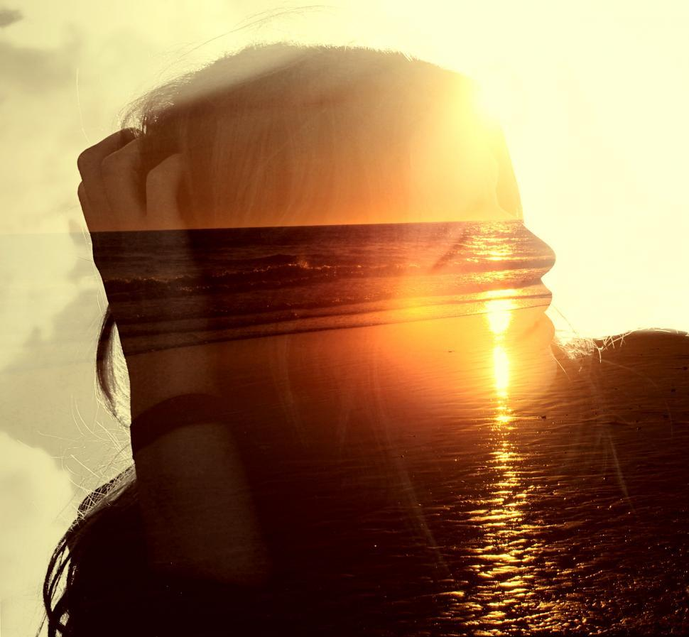 Download Free Stock HD Photo of Girl on the Beach at Sunset - Double Exposure Effect Online