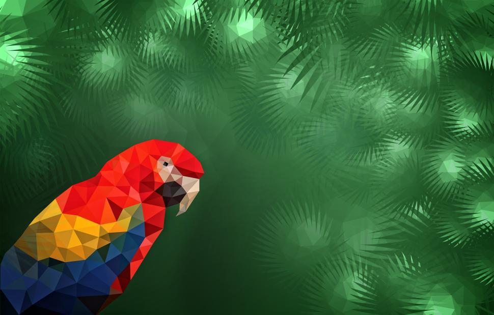 Download Free Stock Photo of Low Poly Tropical Background - Macaw in the Jungle with Copyspac