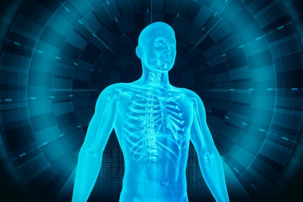 Download Free Stock Photo of Medical Human Body Scan - Man and Technology
