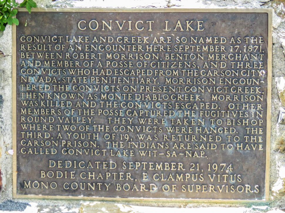 Download Free Stock HD Photo of Information board of Convict Lake Online
