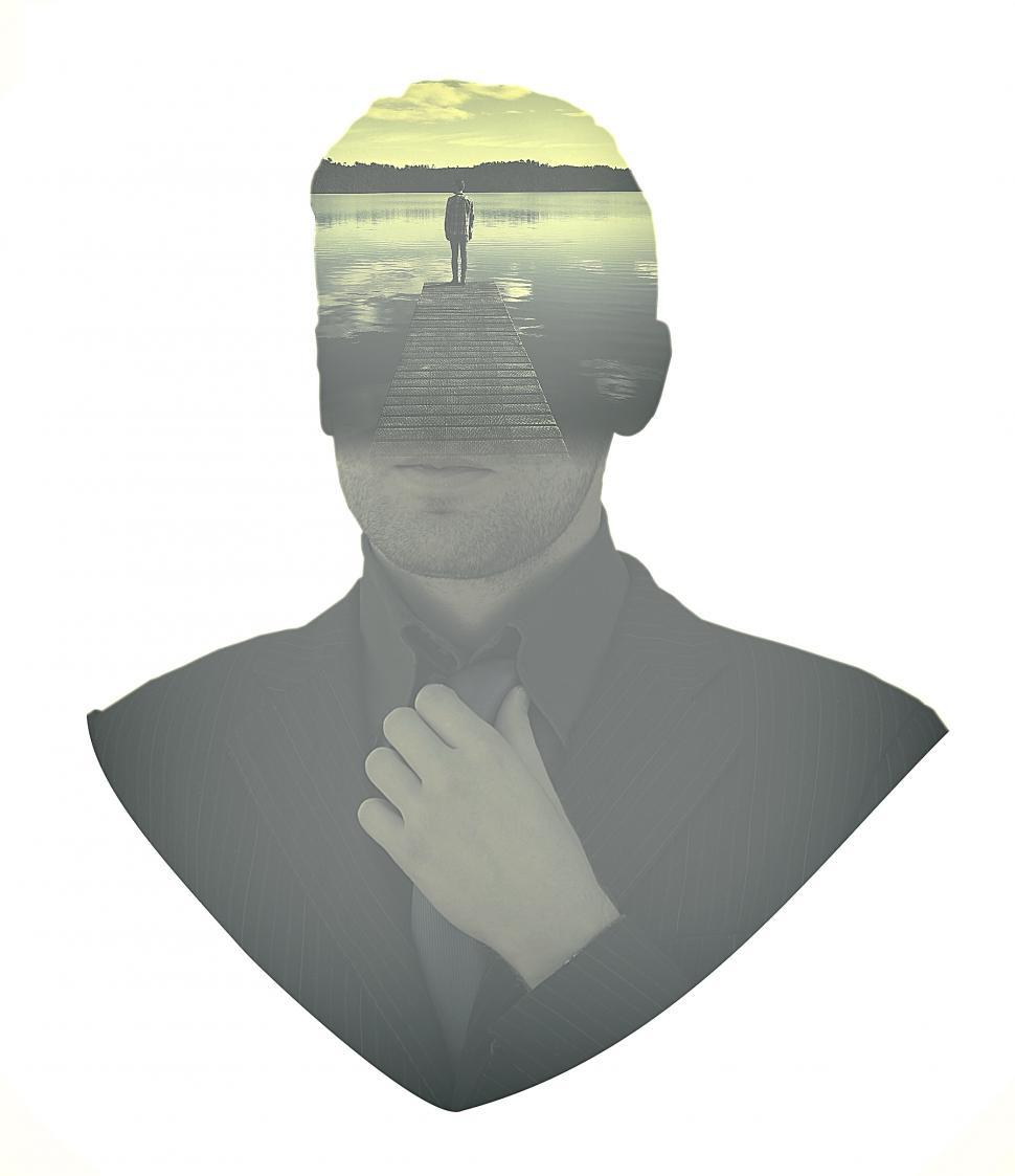 Download Free Stock Photo of People - Businessman Aspirations - Double Exposure Effect