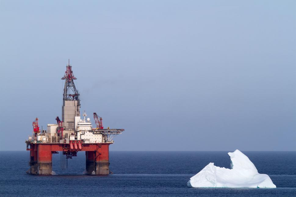 Download Free Stock Photo of Oil and gas drilling platform with iceberg
