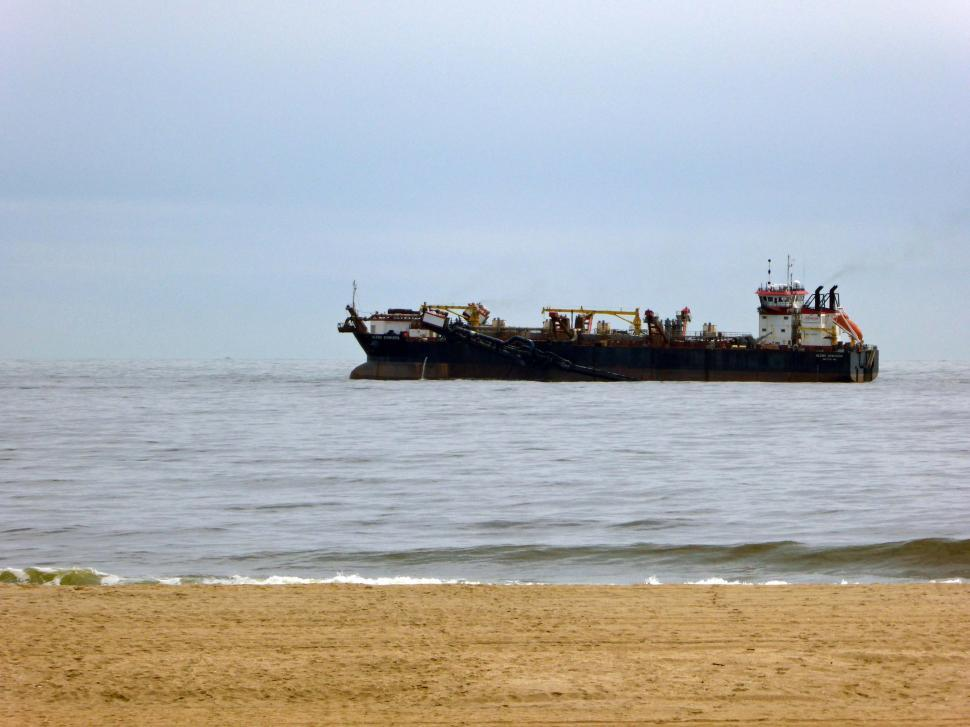 Download Free Stock HD Photo of Freighter and Beach Online