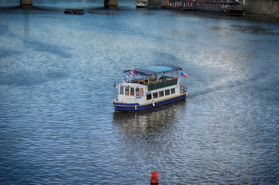 Download Free Stock HD Photo of River passenger boat floats in Prague  Online