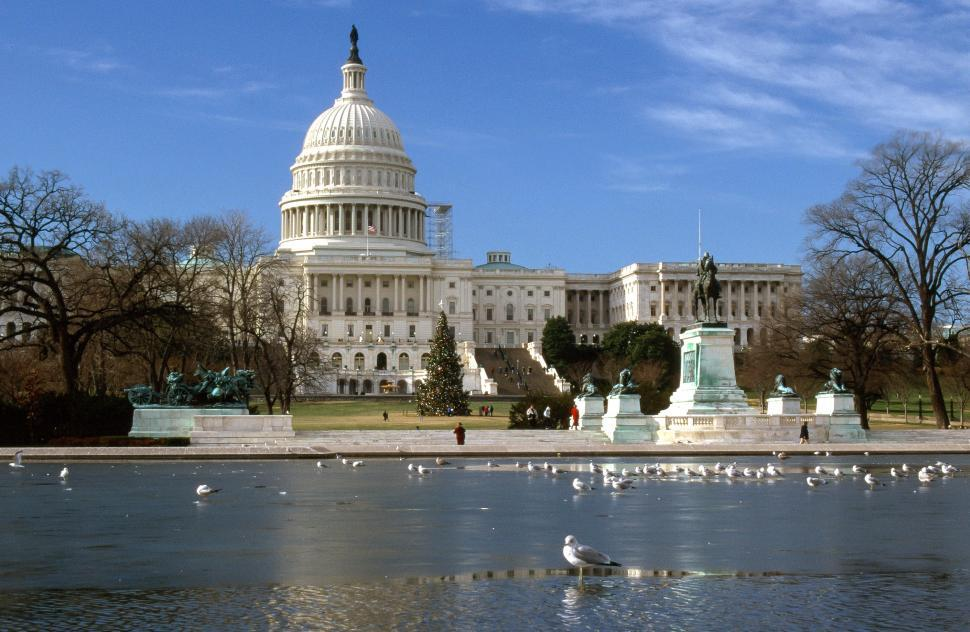 Download Free Stock HD Photo of Capitol Building and pond Online