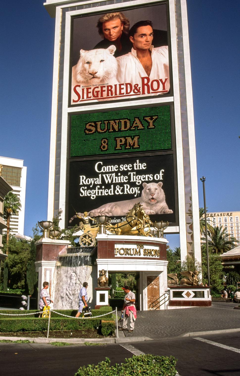 Download Free Stock Photo of Vintage Siegfried Roy on Billboard